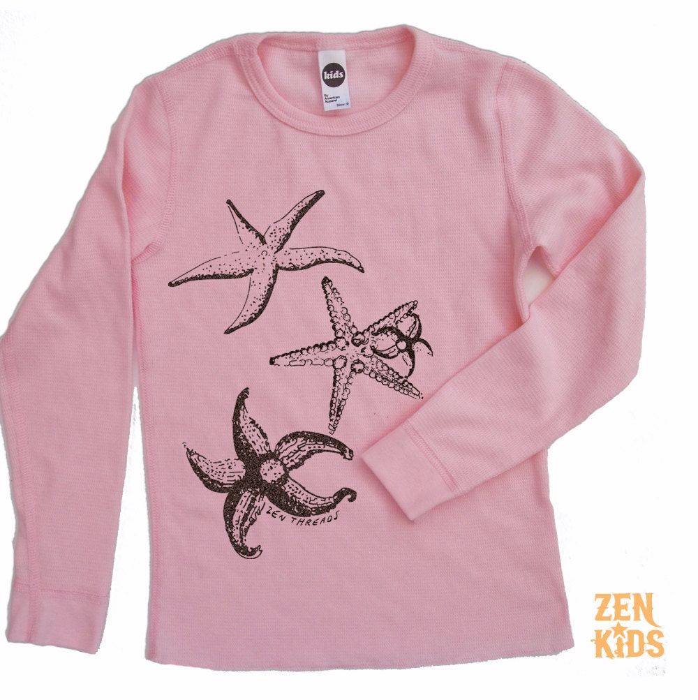 Kids Long Sleeve Thermal in Pink Thermal STARFISH - Kid Sizes 4 6 8 10 & 12 - ZenKids