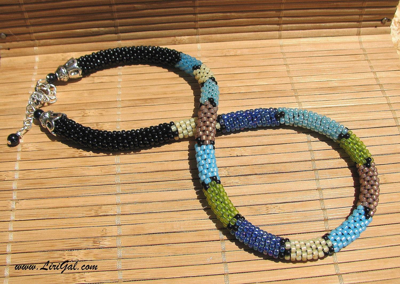 Patchwork.  Bead Crochet Choker