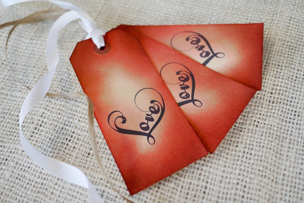 Love Gift Tags - Hand Inked Rustic Set of 3 Love Tags w/ Ribbon & Raffia - Papertique