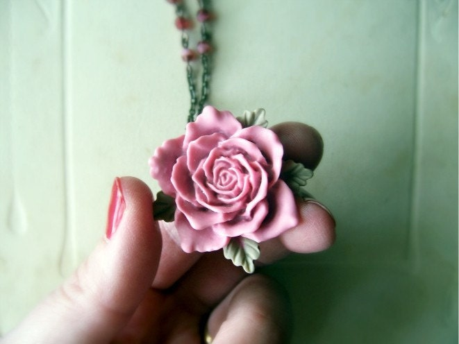 Vintage Burgundy Rose Necklace