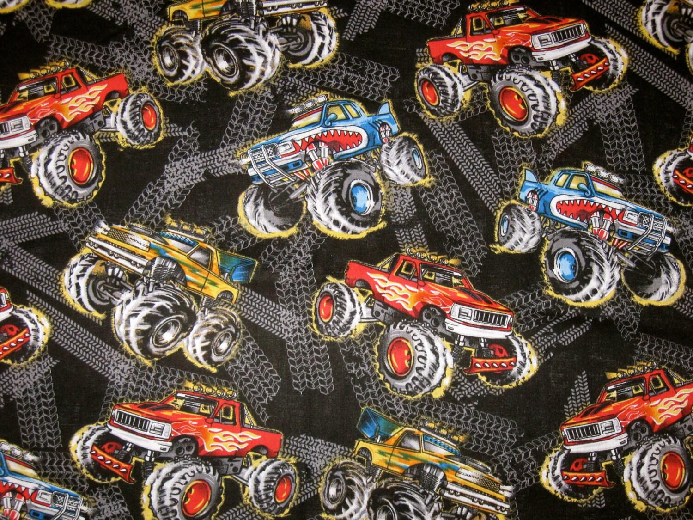 Monster truck travel blanket 4 piece set by pinkpoppolkadot for Monster truck fabric