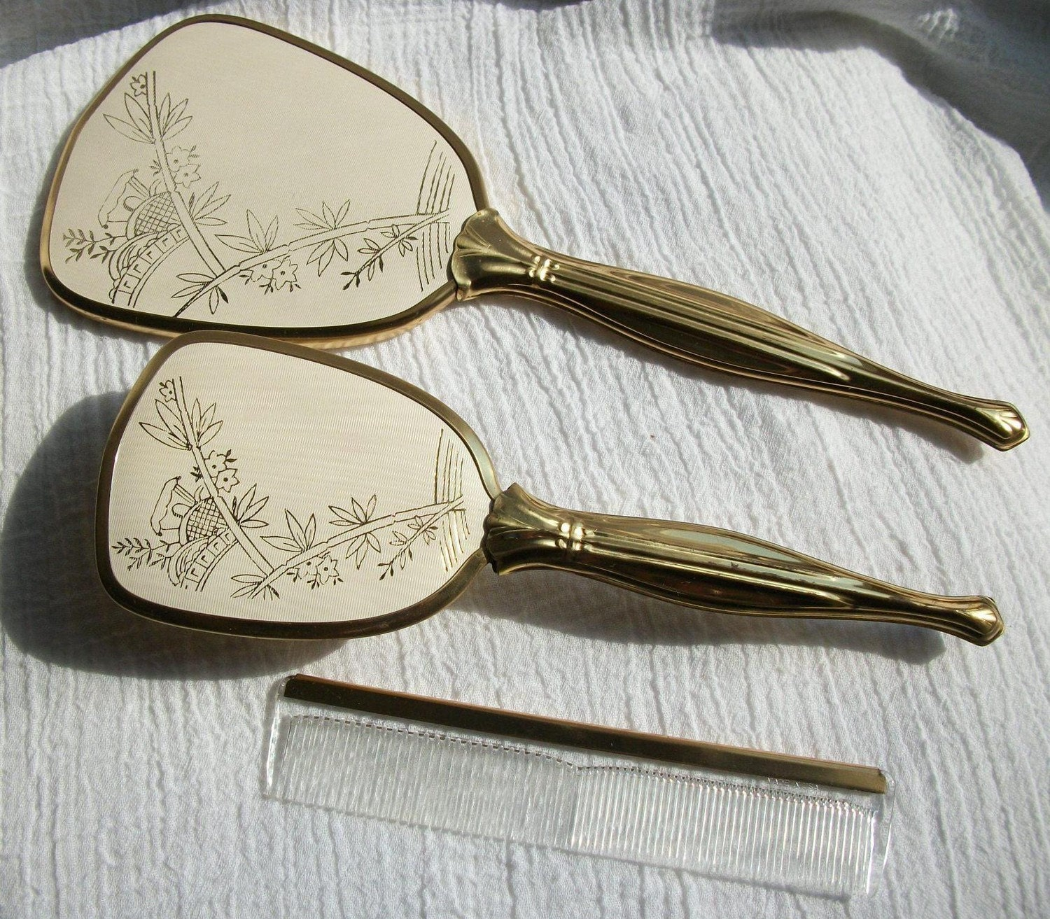 vintage hand mirror brush and comb set by queeniesvintagefinds