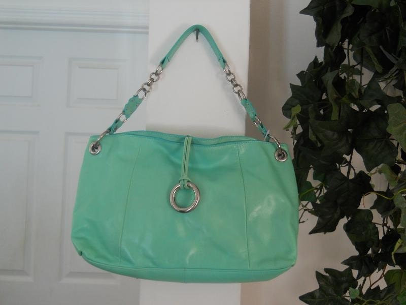 Mint green turquoise purse vintage hobo tote handbag