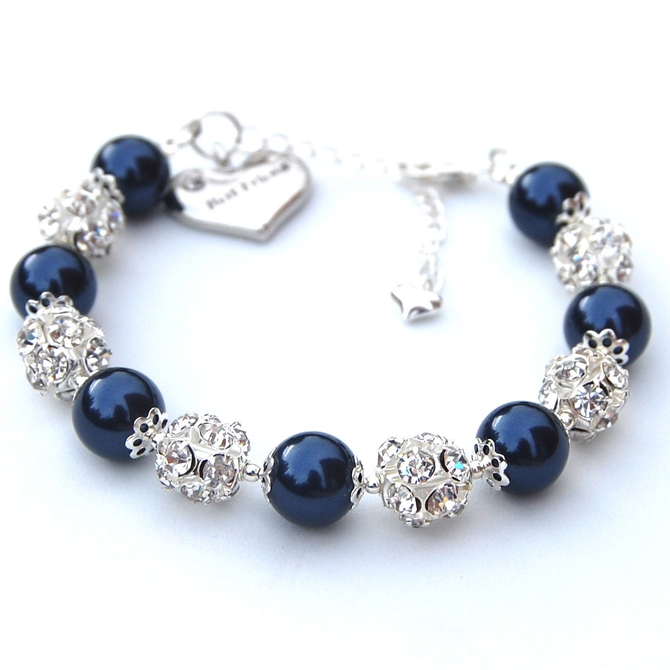 items similar to best friend charm bracelet pearl