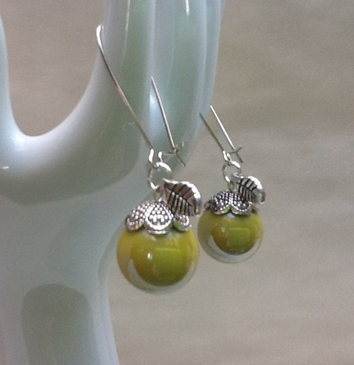 Kitsch vintage glass marble YELLOW APPLE fruit earrings  old opaque marbles upcycled into striking dangle drop rockabilly style earrings