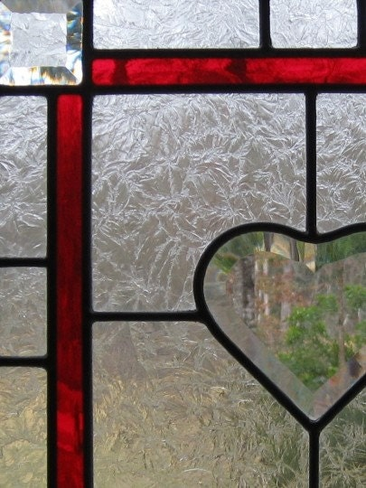 Framed Stained Glass Heart Panel - To Have & To Hold