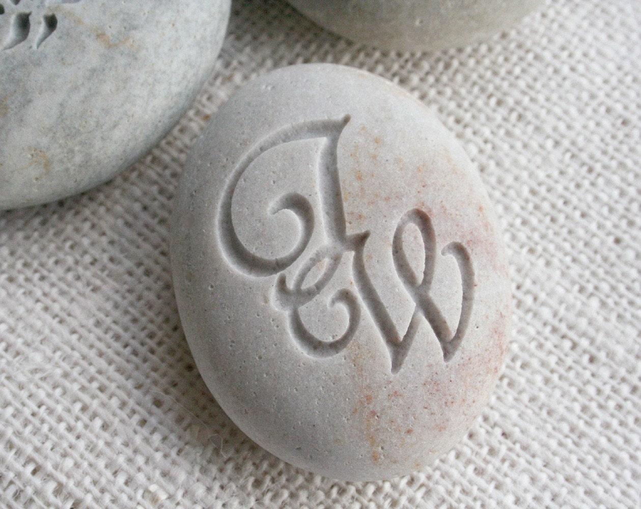 Interlocking Monogram Pebble - engraved stone for couple, anniversary, engagement, wedding - custom double sided stone engraving