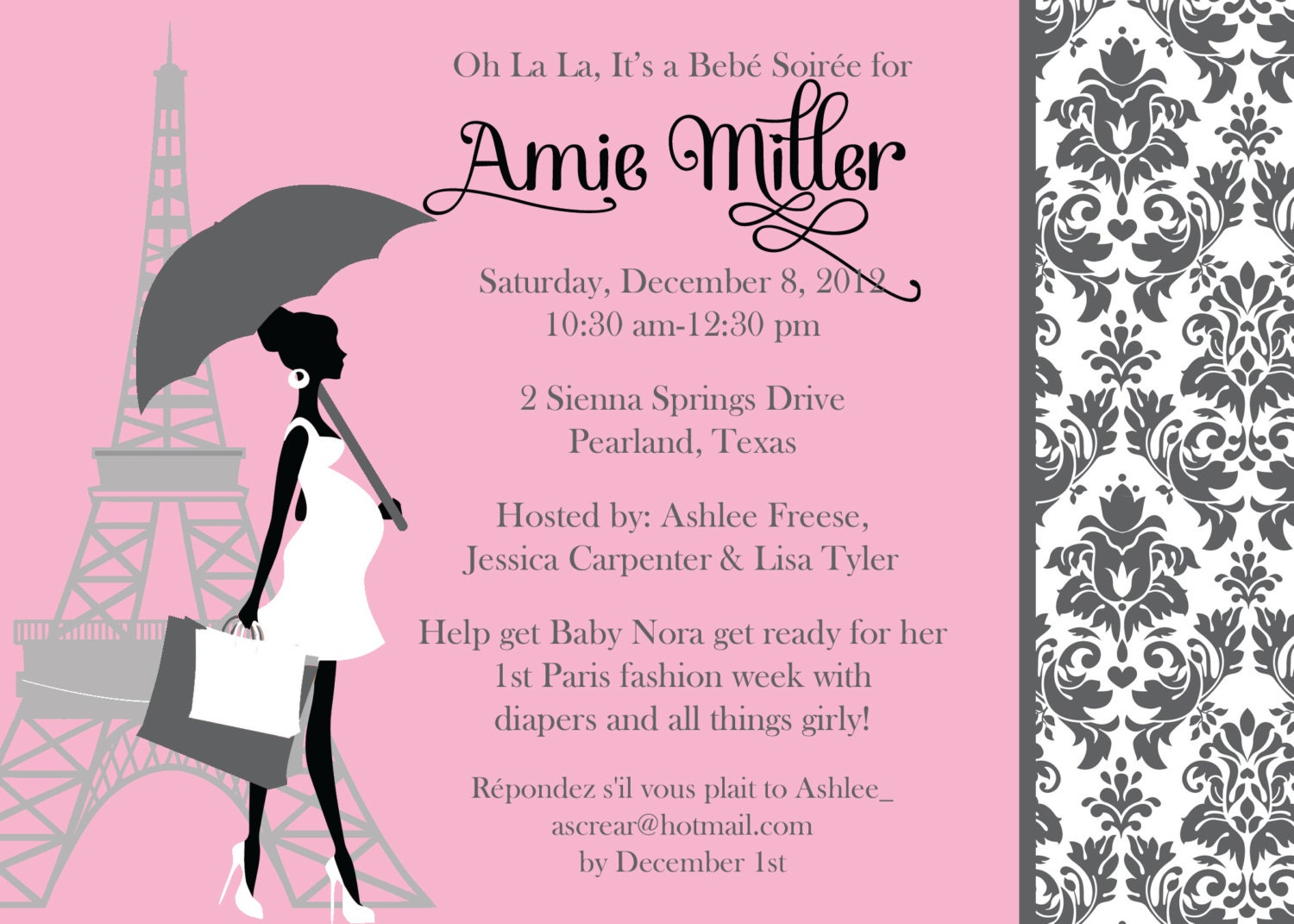 Paris Chic Baby Girl Shower Invitation 02 By OhSoFabulous .