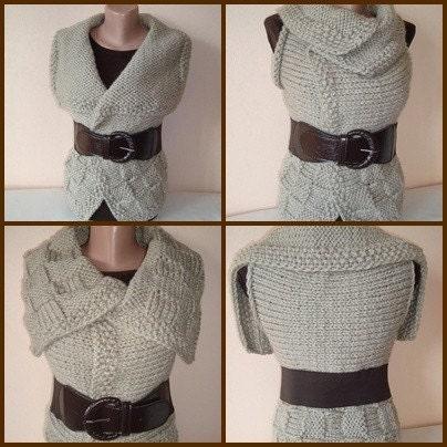 Bulky Reversible Beige Modern Vest