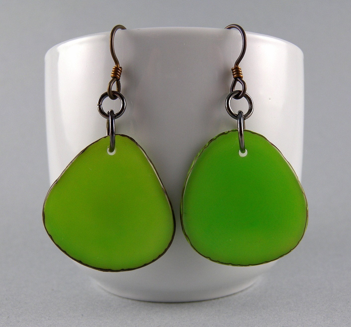 Lime Green Tagua Nut -Eco Friendly Earrings  -with Free Shipping