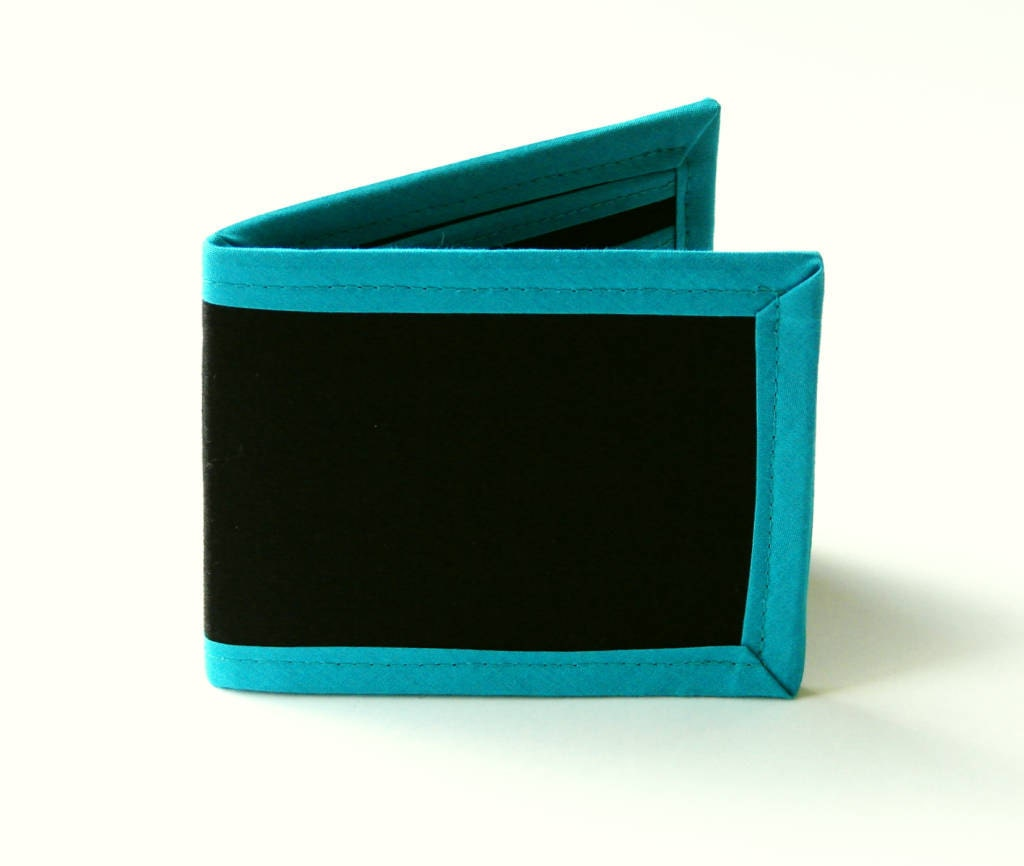 Black 'N' Teal Billfold - Vegan Friendly Wallet - moonandsundries