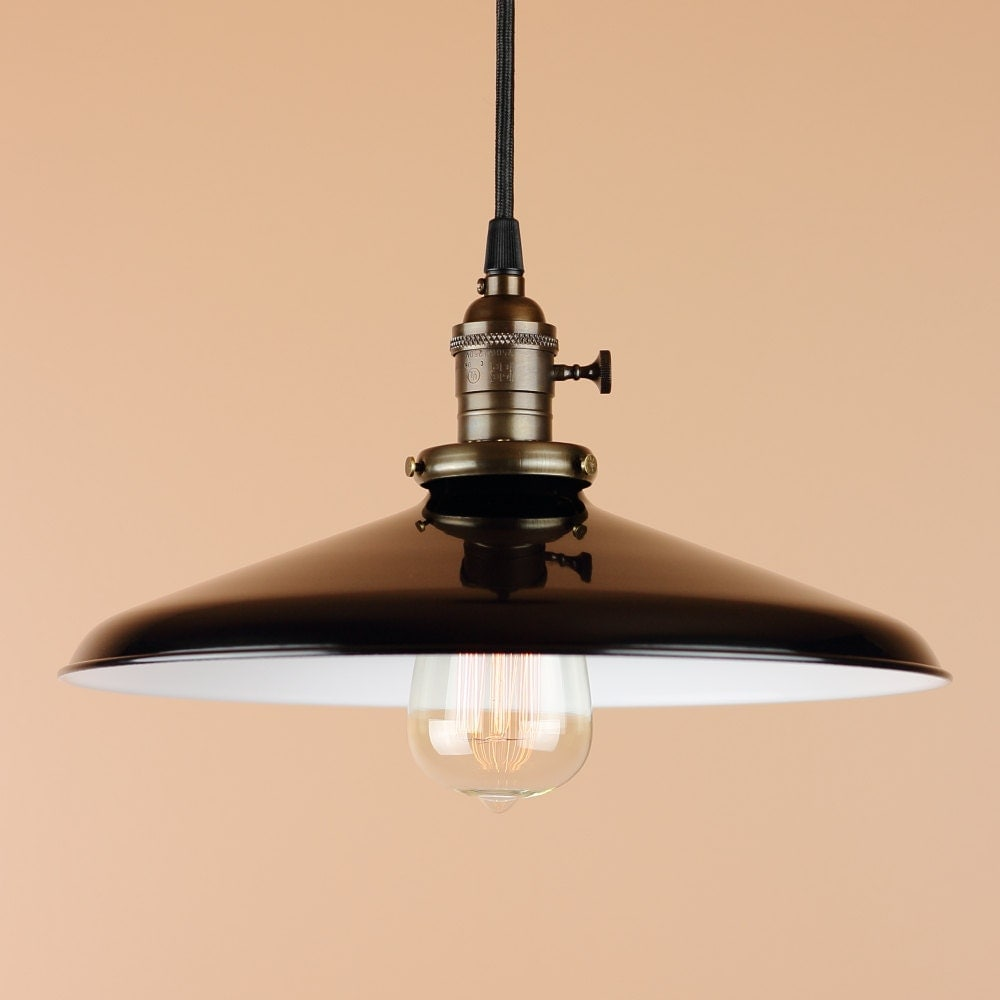 12 inch Pendant Light Black Porcelain Enamel by BlueMoonLights