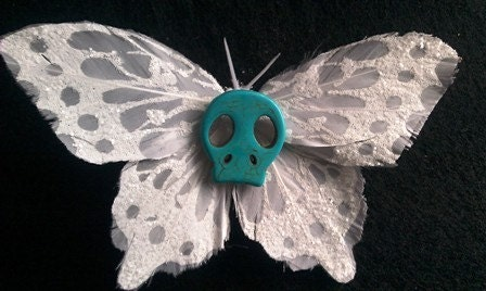Day of the dead skull white glitter butterfly barrette