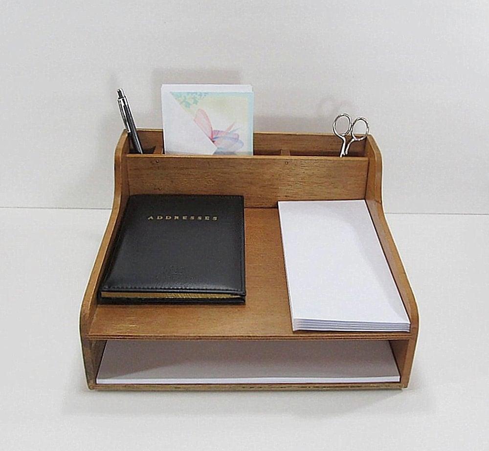 Original Vintage MidCentury Wooden Desk Organizer  Desk By