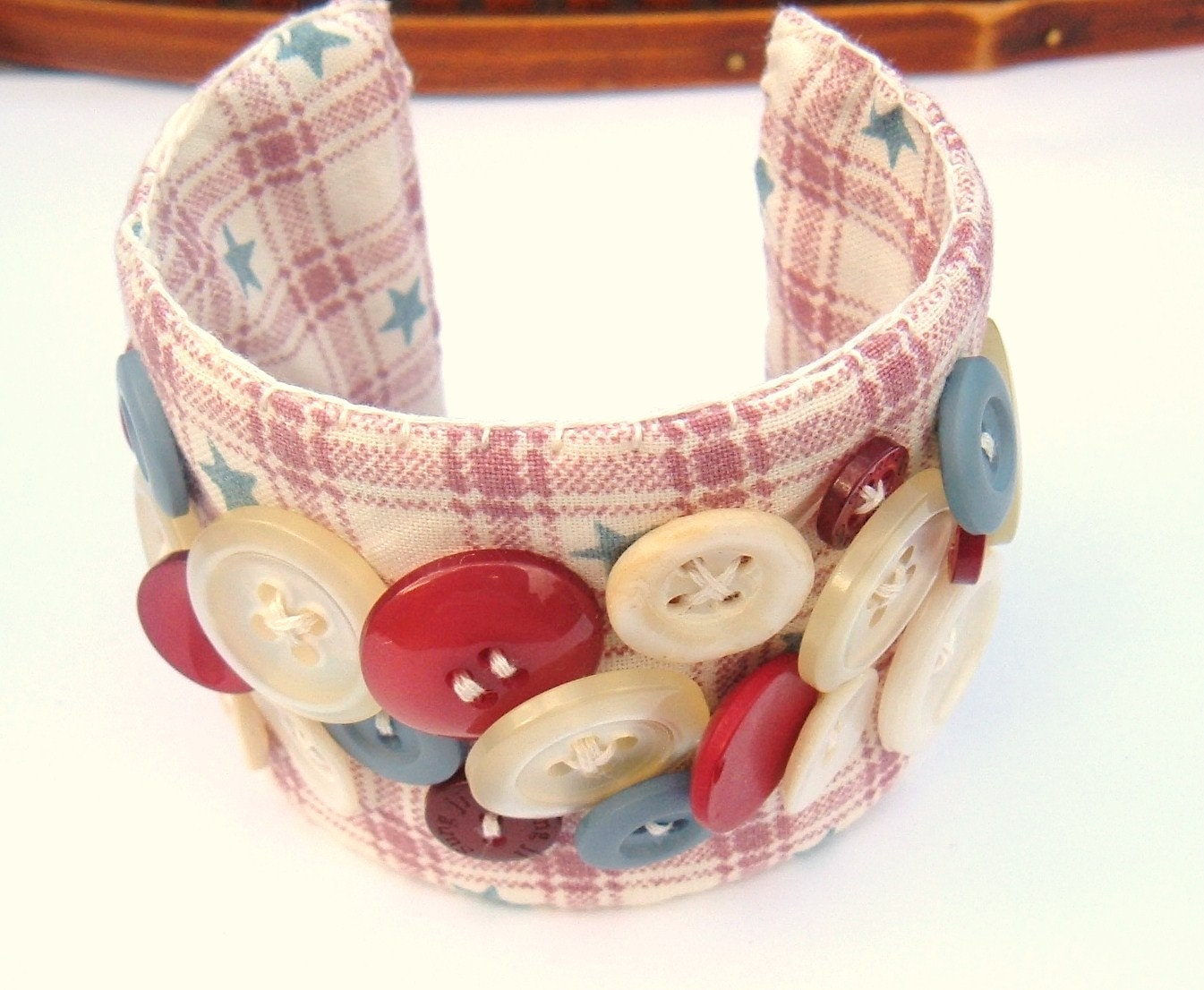 Fabric Cuff Handmade OOAK Bracelet stars stripes and vintage buttons