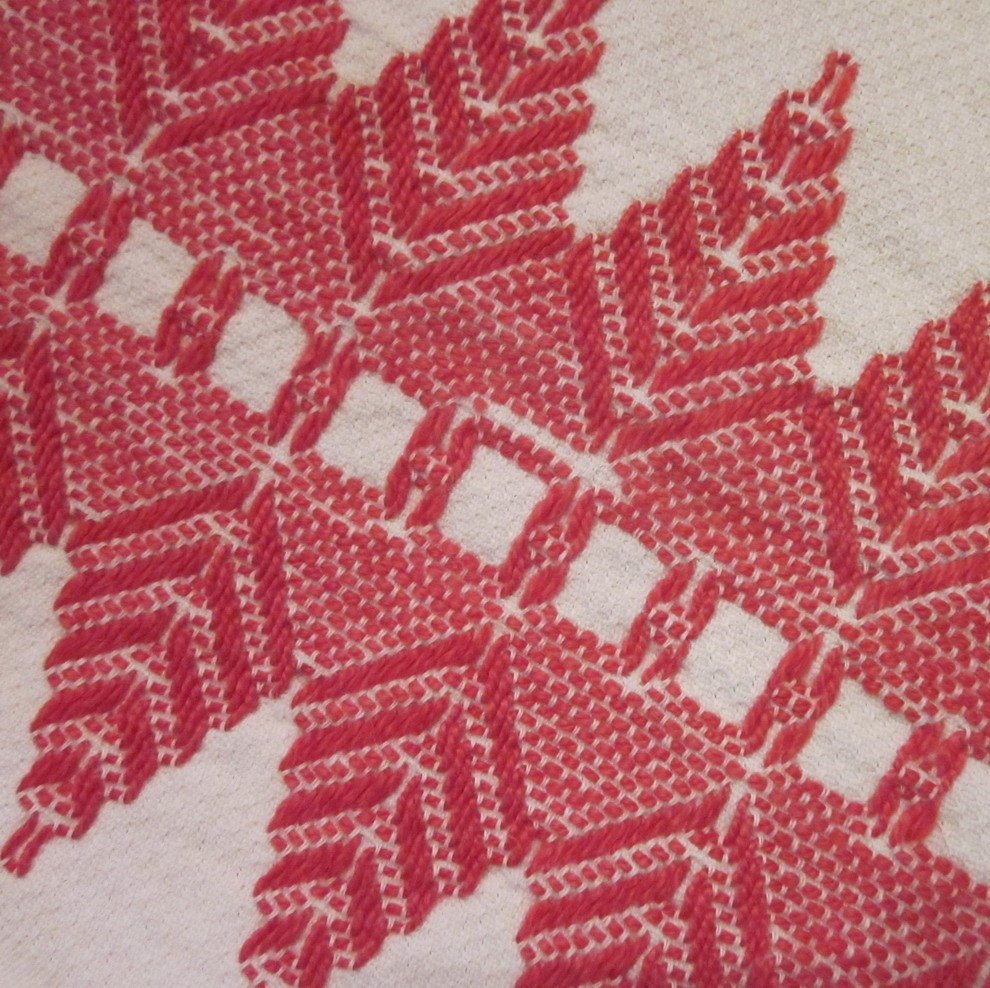 Vintage Tea Towel - Red and White Huck Embroidery