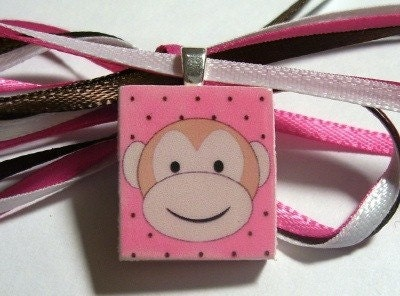 Monkey Scrabble Tile Pendant/Necklace for Girls, Teens and Tweens