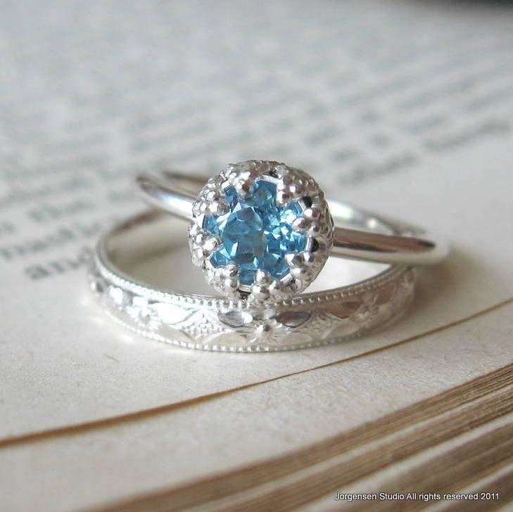blue topaz sterling silver engagement ring by jorgensenstudio