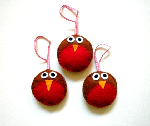 Christmas Tree Decorations - Felt Robins - Set of Three