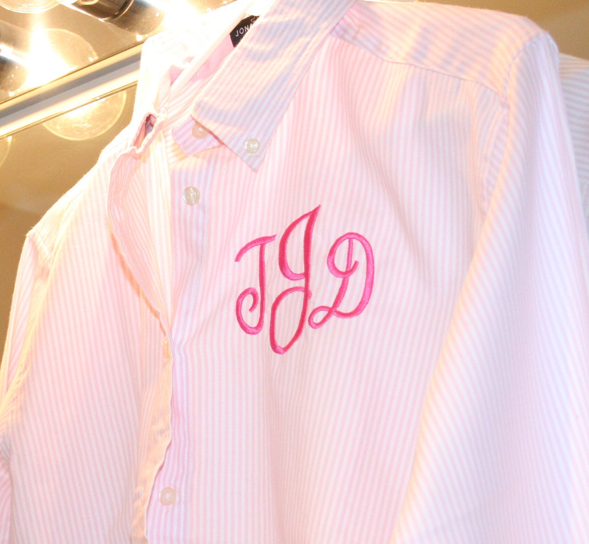 Oversized Mens Shirt Monogram Pink Stripe Oxford Bridesmaids Button Down