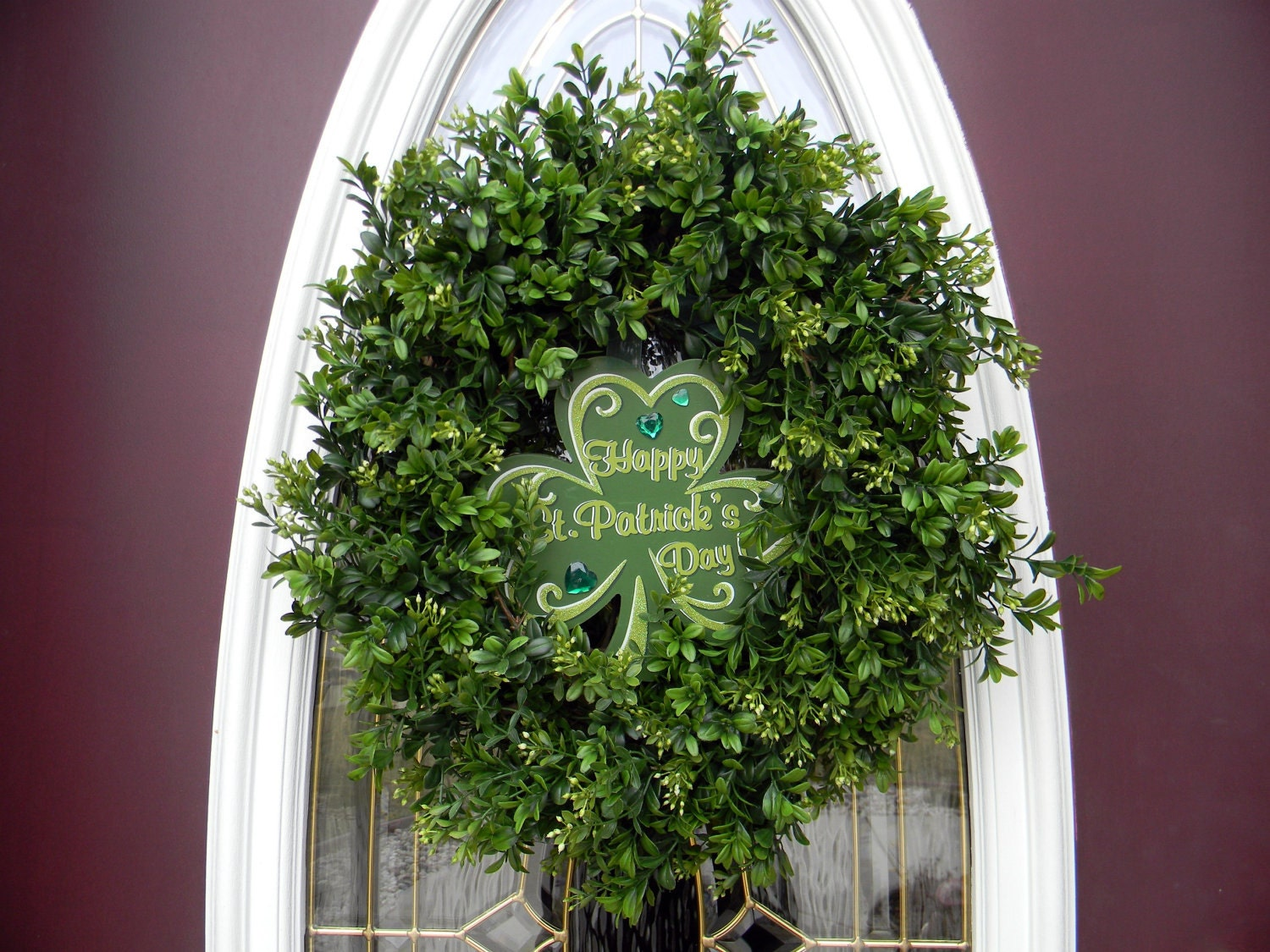 St Patricks Day Grapevine Boxwood Door Wreath. Two Wreaths In One