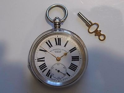 Beautiful Antique Hallmarked Silver Swiss Pocket Watch  1909. With a Box and Key.