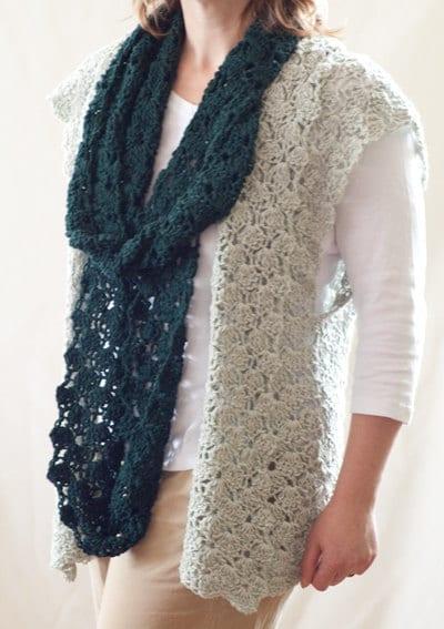 Crochet Infinity Scarf Pattern Shell : Crochet Pattern Shell Stitch Vest and Infinity Scarf Combo