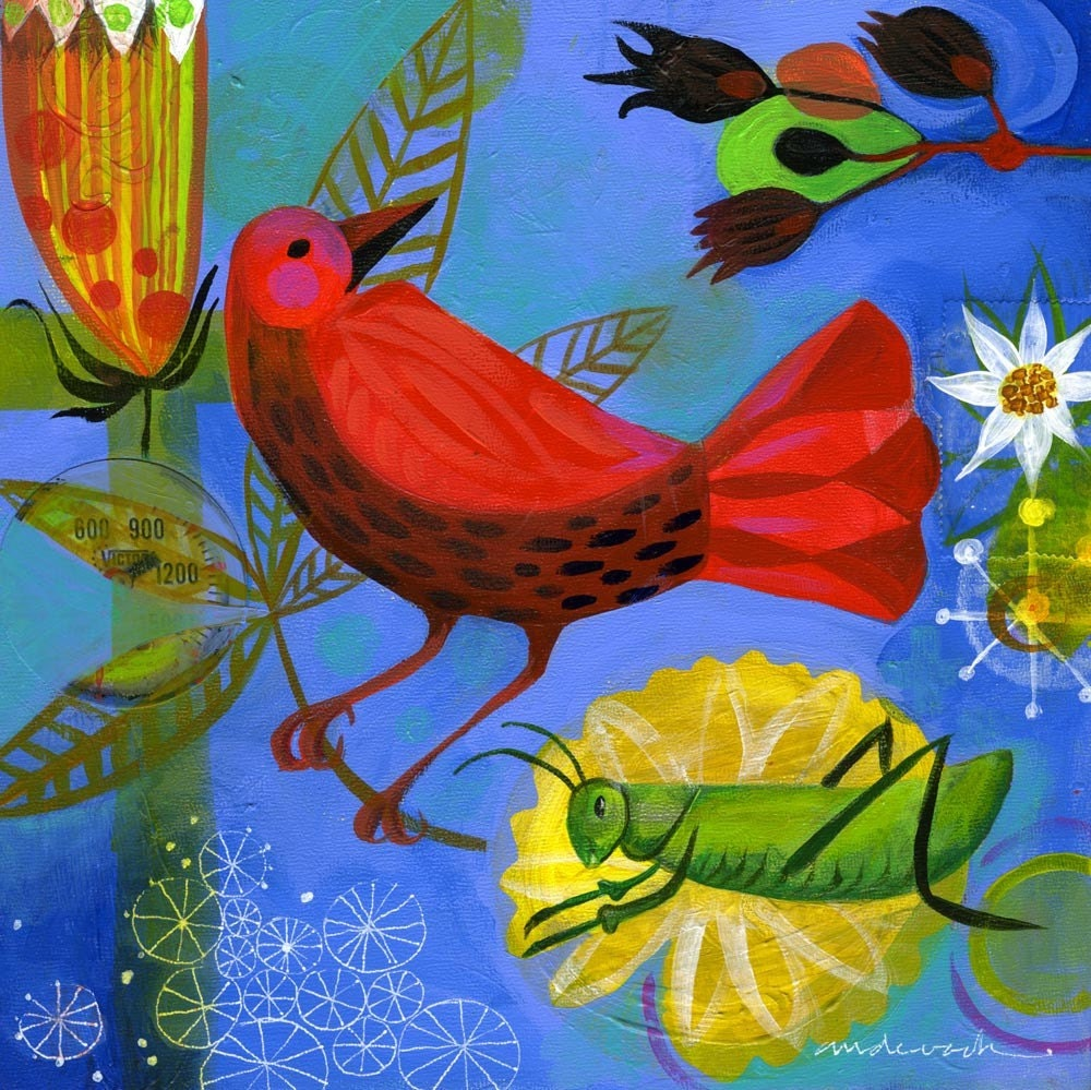 Red Bird and Grasshopper ORIGINAL painting