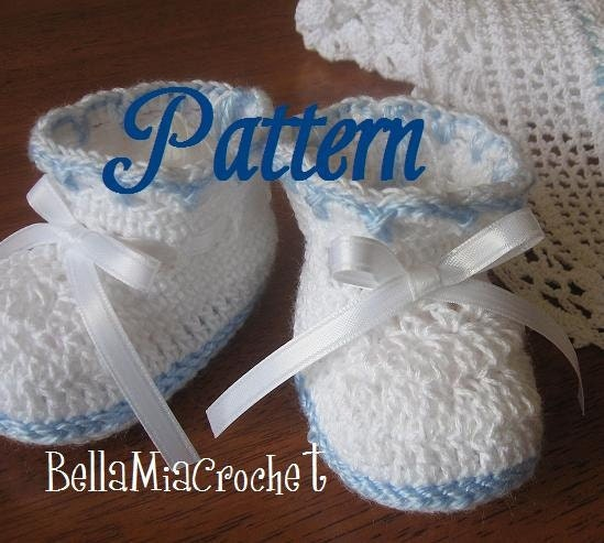 Free Crochet Patterns For Baby Converse Shoes : Heirloom Crocheted baby Booties Pattern by bellamiacrochet ...