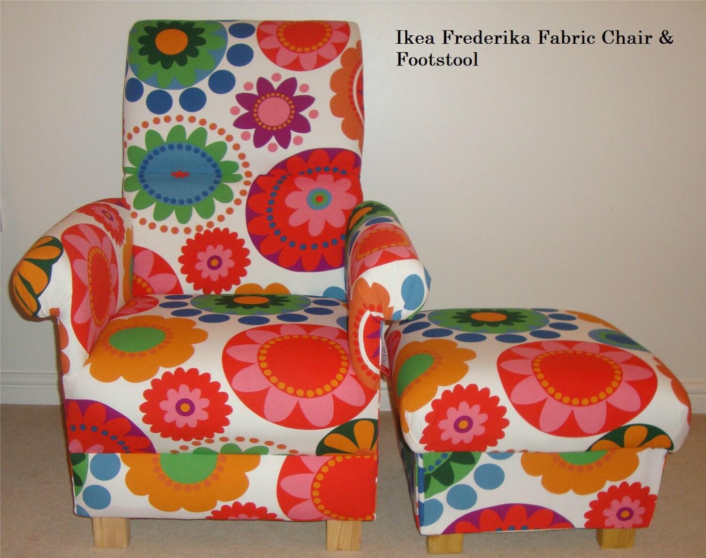 Ikea Frederika Fabric Adult Chair  Footstool Funky Retro Style Nursery Red Orange Green Blue Accent Handmade British Nursing Bedroom New