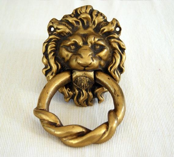 Lion head brass door knocker by puraanik on etsy - Antique brass lion head door knocker ...