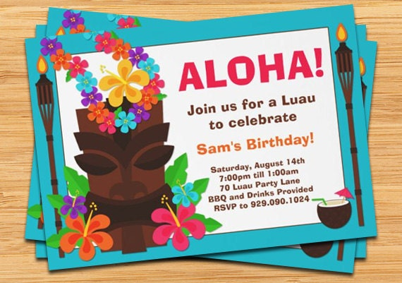 Luau Party Invitation by eventfulcards on Etsy