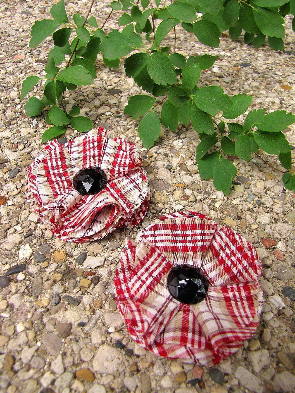 Чистка роликов с цветами ручной работы ткань (комплект из 2 шт) - RED ХЛОПОК PLAID