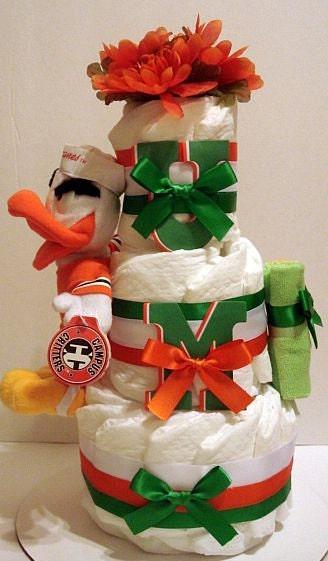 University of Miami Diaper Cake
