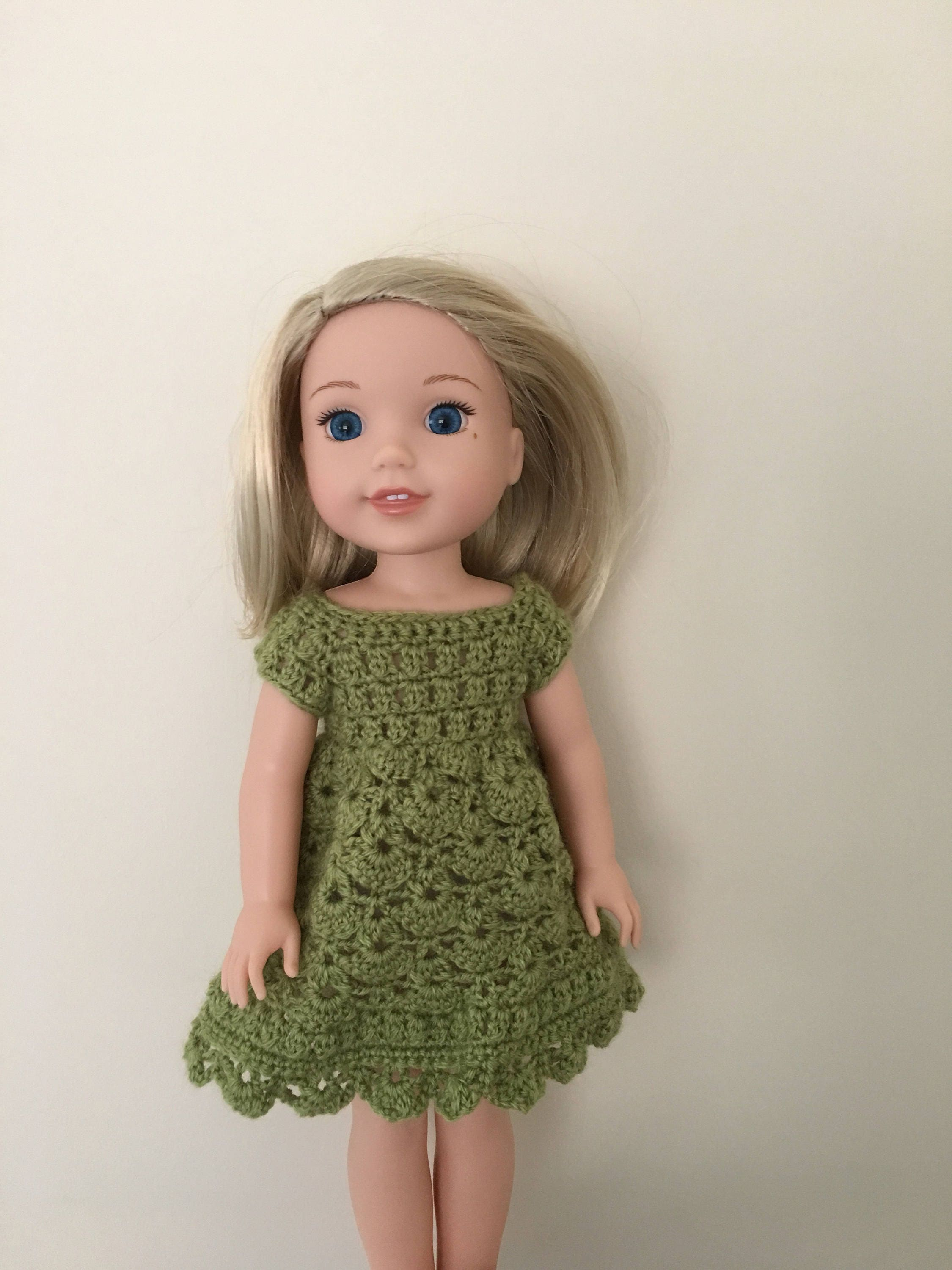 Green dress for 14.5 doll such as American Girl Wellie Wishers. Handmade crocheted.