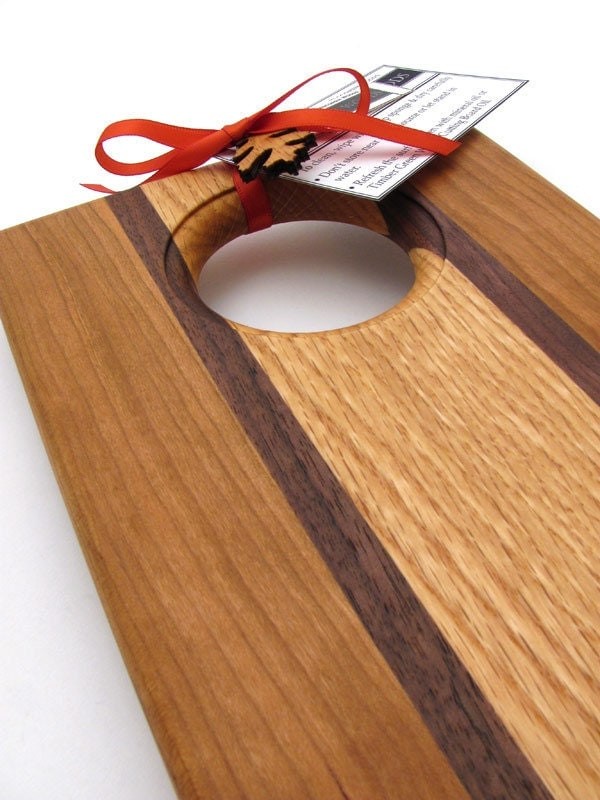 Large Cherry Wood Bread Board - Cutting and Serving Board by Timber Green Woods . Sustainable Forestry Products - TagT Team