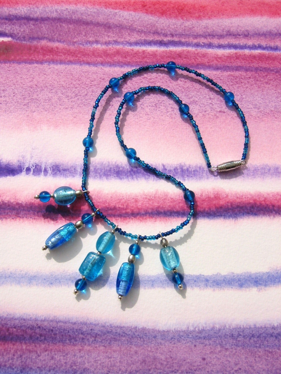 Sapphire blue glass necklace