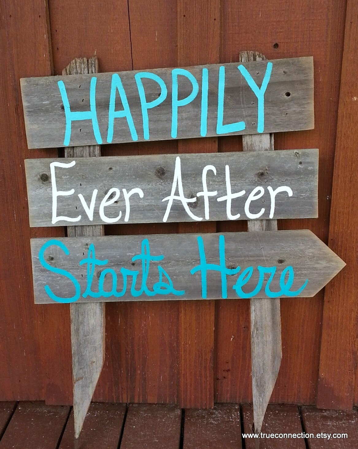 Wedding sign happily ever after starts here arrow romantic beach decor