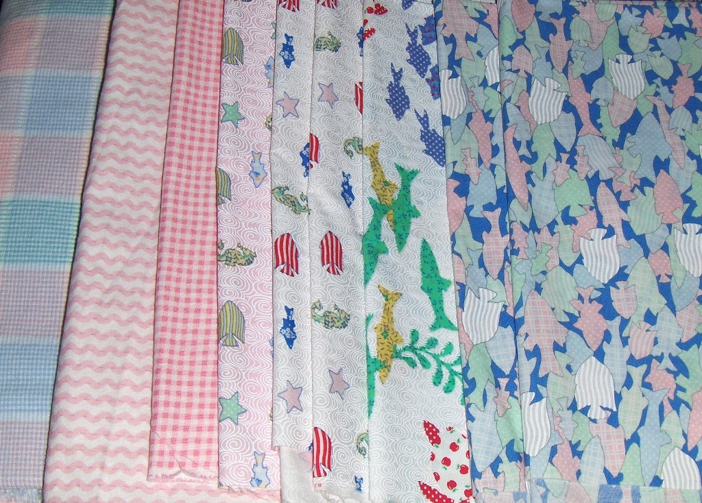 On Sale  Quilt Fabric Coordinated Pieces with Pink and Blues Aquatic Theme  On Sale