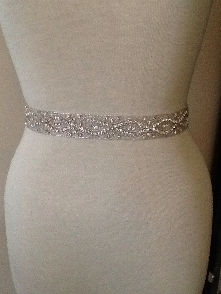 All around beading bridal belt wedding belt by for Wedding dress bling belts