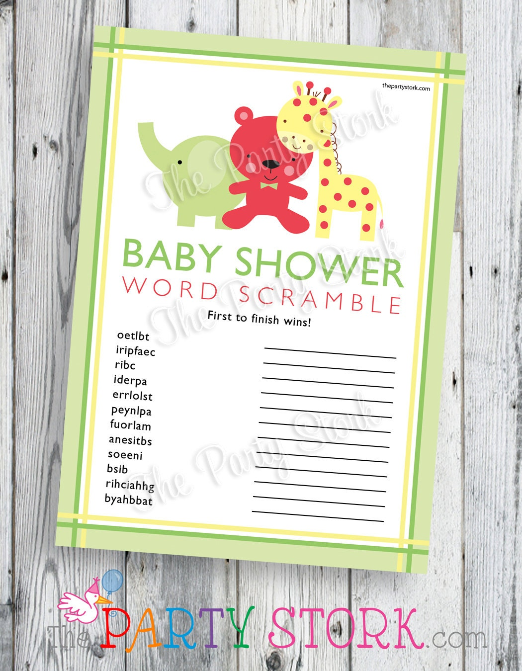 safari baby shower word scramble game printable by thepartystork