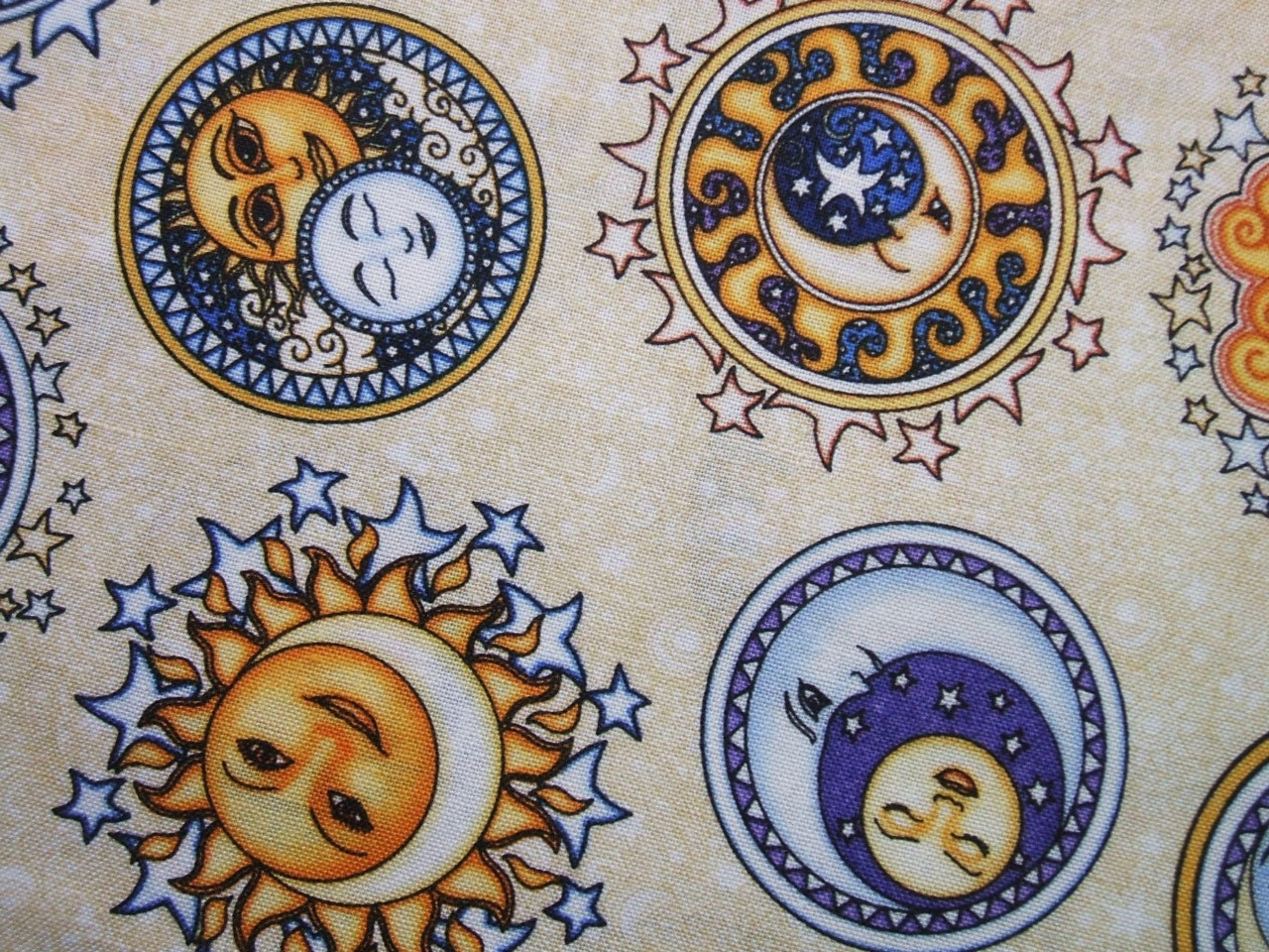 Rjr sew heavenly cream celestial sun moon by for Sun moon fabric
