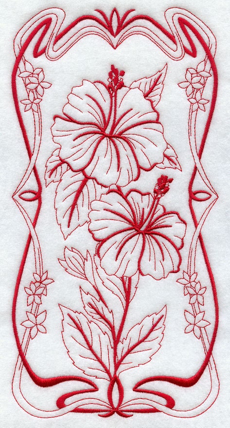 Blooming Art Nouveau Hibiscus Machine By Azembroiderybarn