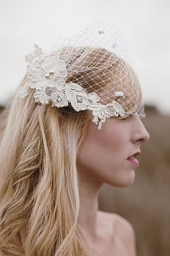 White birdcage veil- Now available in Pure White or Ivory