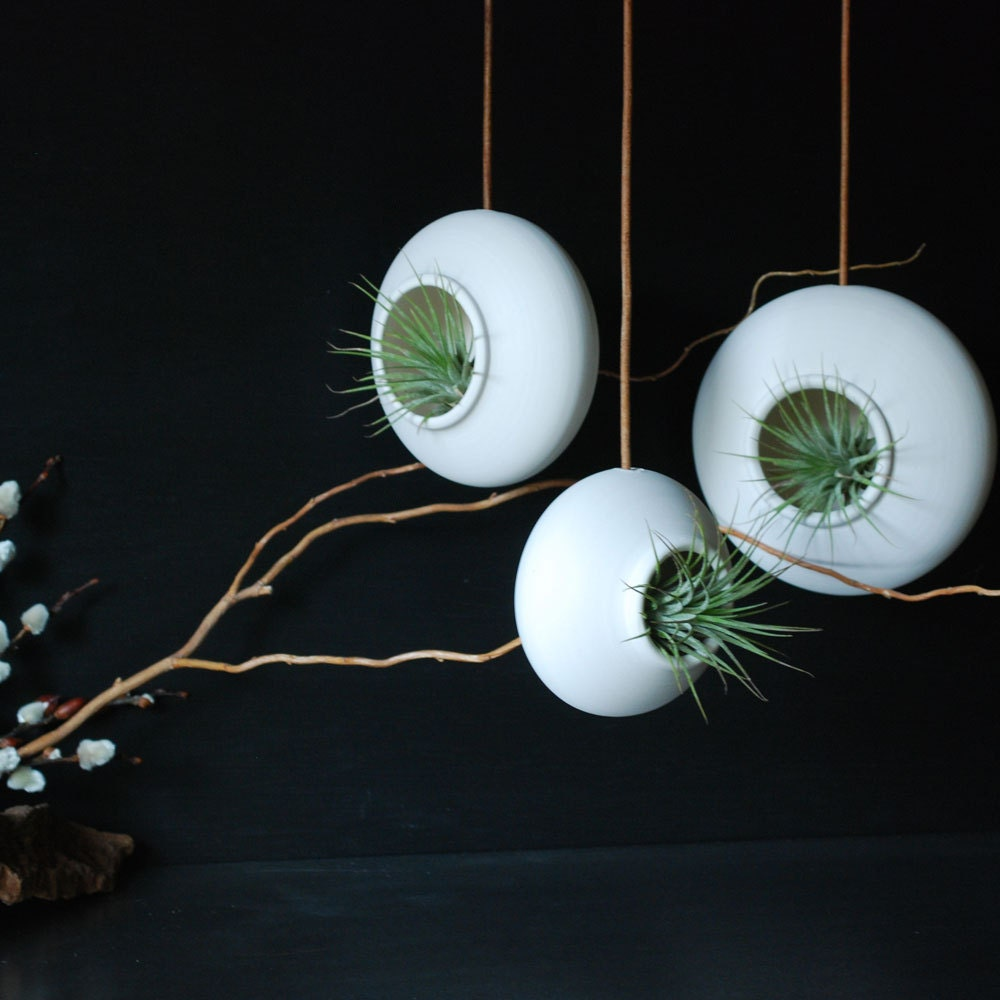Set of three Round Hanging Air Planters - Handmade Fine Porcelain - InglesidePottery