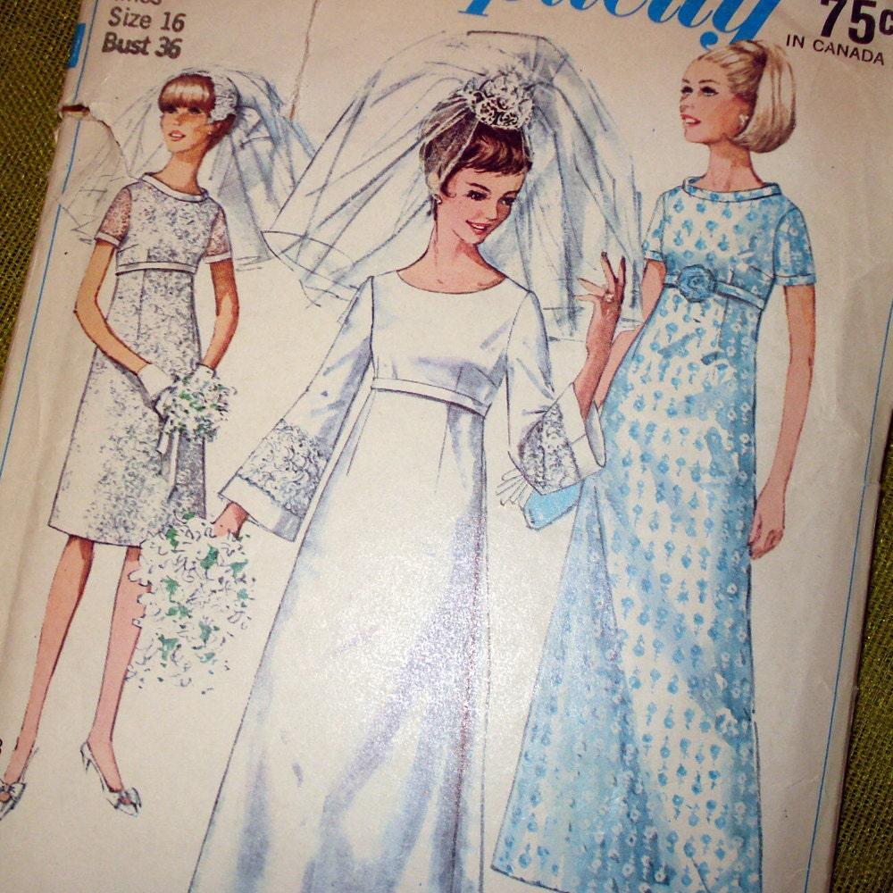 1960s vintage sewing pattern empire waist wedding by for Empire waist wedding dress patterns