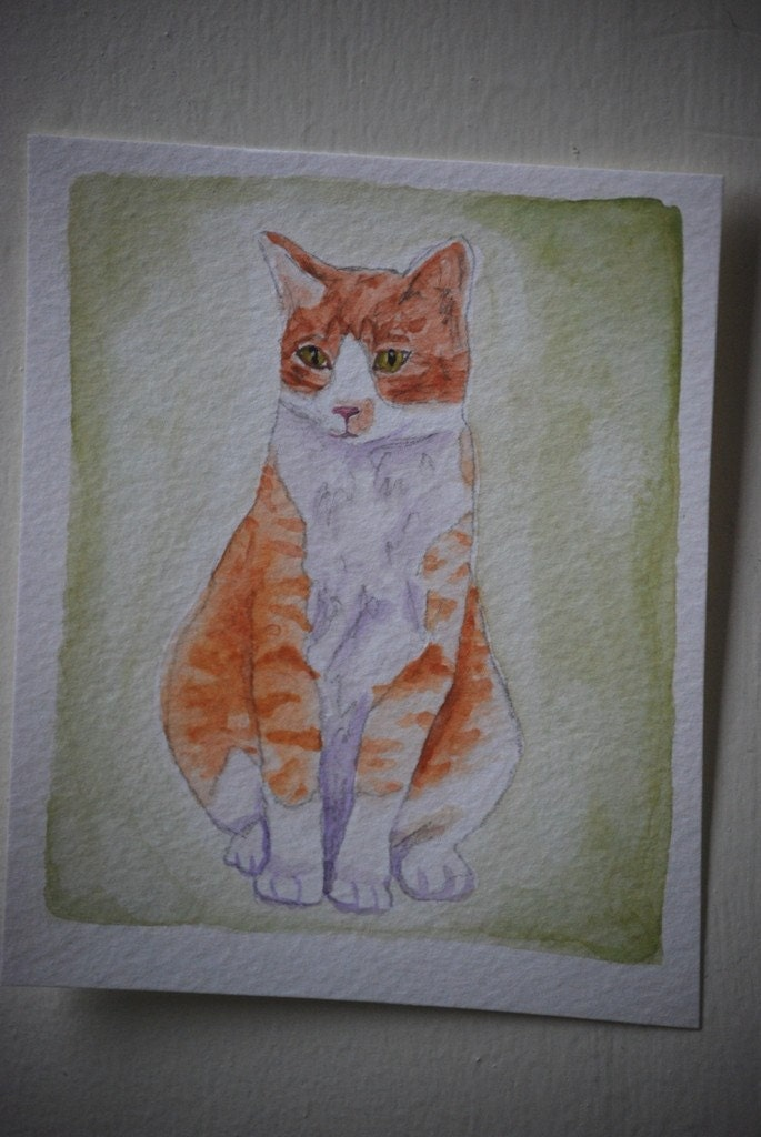 Original Watercolor Orange and White Cat Portrait, 50 percent donated to the ASPCA animal rescue group
