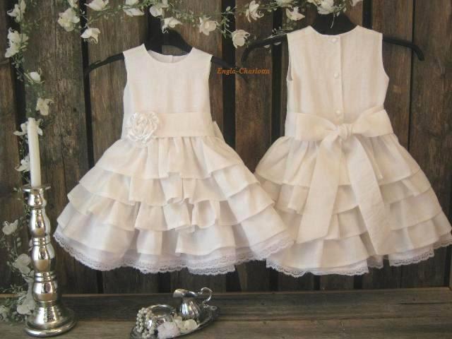 White linen flower girl dress. White flower girl dress, country rustic flower girl dress. Toddler girls white linen dress. Girl ruffle dress - englaCharlottaShop