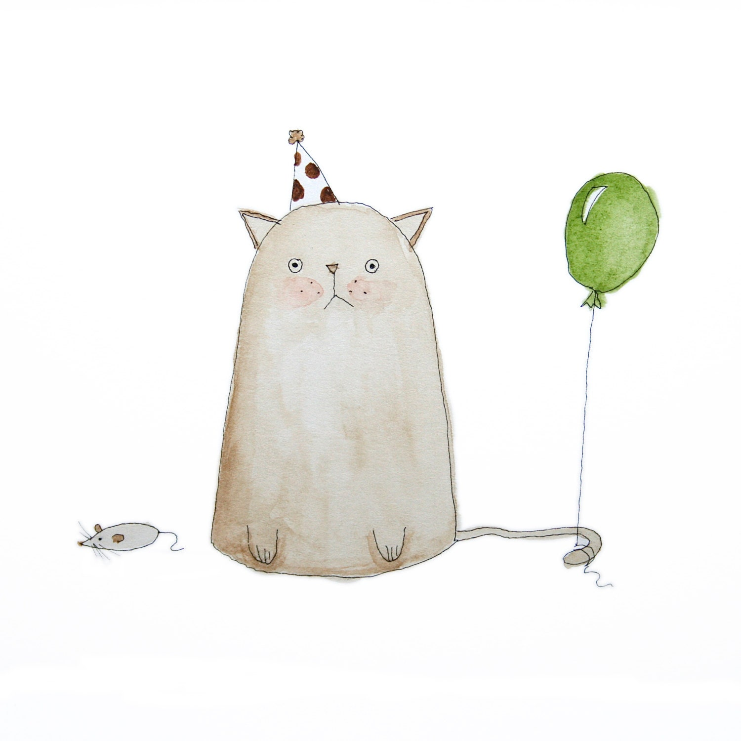 Kids Wall Art Cat Watercolour Painting Cat Illustration By