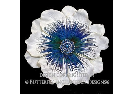 Romantic Blue Shimmer Anemone Flower Hair Clip